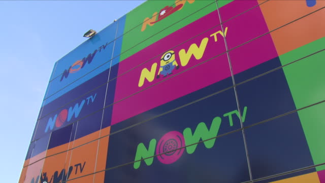 exterior shots of now tv signs around the sky osterly campus sky corporate campus on 26 july 2018 in london england - cloud computing video stock e b–roll
