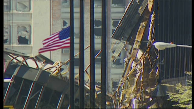 exterior shots of nypd police at ground zero and debris and wreckage of the world trade center towers on september 16 2001 in new york city - petronas twin towers stock-videos und b-roll-filmmaterial