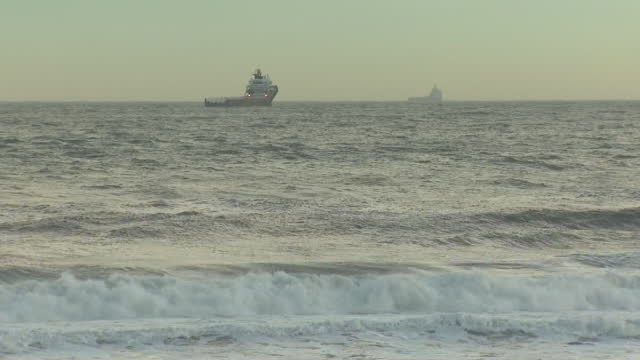 exterior shots of oil tankers anchored at sea with stormy skies and choppy waves off the aberdeenshire coastline on 18 november 2020 in balmedie,... - anchored stock videos & royalty-free footage