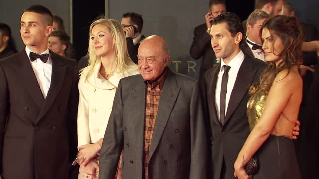 exterior shots of omar alfayed guest mohamed alfayed karim al fayed and brenda costa attending the royal world premiere of 'spectre' at royal albert... - spectre 2015 film stock videos and b-roll footage