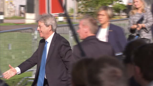 Exterior shots of Paolo Gentiloni Italian Prime Minister arriving at an EU summit on security on 29 September 2017 in Tallin Estonia