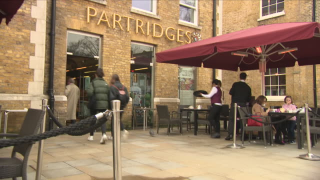 Exterior shots of Partridges the upscale grocery in Sloane Square with seating outside on 11 April 2018 in London United Kingdom