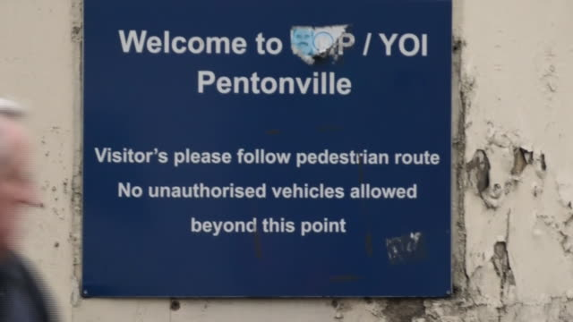 """exterior shots of pentonville prison including """"welcome to pentonville sign"""" and pentonville sign on top of building and security gates on 22 january... - welcome sign stock videos & royalty-free footage"""