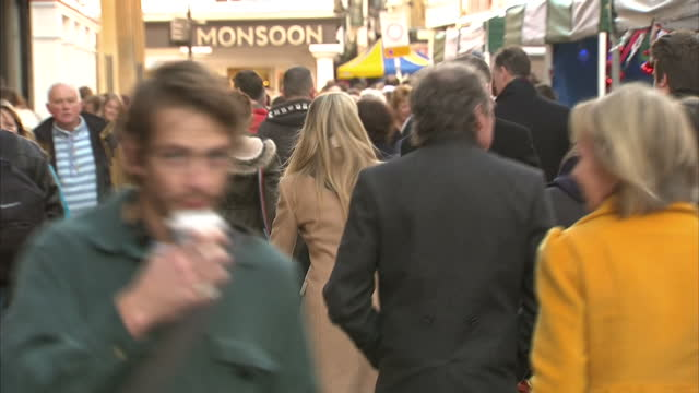 exterior shots of people browsing stalls at a christmas market in winchester>> on december 12 2013 in winchester england - 英国ハンプシャー点の映像素材/bロール