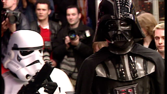 Exterior shots of people dressed as Darth Vader Stormtroopers arriving at the premiere of Star Wars Special Edition at Leicester Square on March 20...
