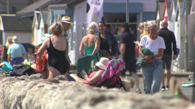 exterior shots of people enjoying the beach side on the hottest day of the year on 24 june 2020 in paignton, united kingdom - day stock videos & royalty-free footage