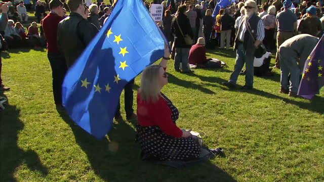 Exterior shots of people gathered at an antiBrexit rally holding EU flags Saltires on March 25 2017 in Edinburgh Scotland