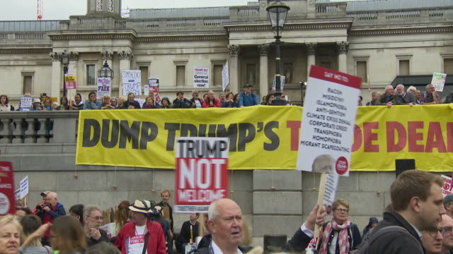 exterior shots of people in trafalgar square protesting against us president donald trump state visit on 04 june 2019 in london united kingdom - donald trump us president stock videos and b-roll footage