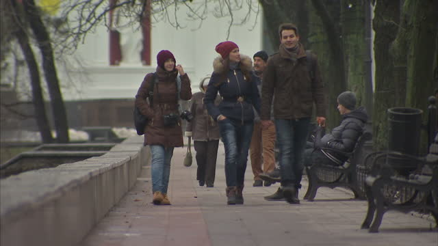 Exterior shots of People of Odessa Odessa residents Ukrainians walking in park in cold weather on January 21 2015 in Odessa Ukraine