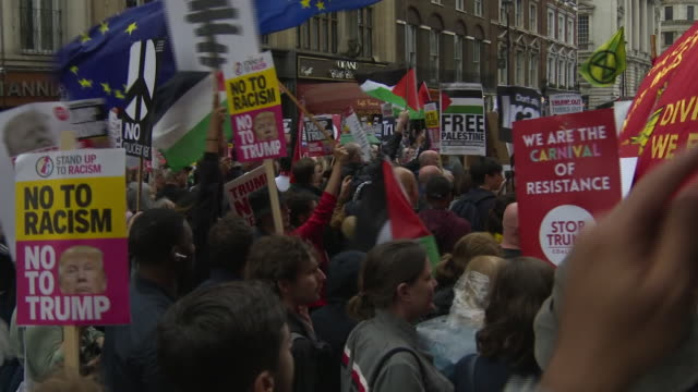 exterior shots of people on streets protesting against us president donald trump state visit on 04 june 2019 in london united kingdom - donald trump us president stock videos and b-roll footage