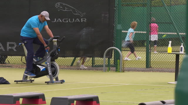 exterior shots of people playing tennis and exercising in the outside areas of a david lloyd gym on 11 july 2020 in twickenham, united kingdom - health club stock videos & royalty-free footage