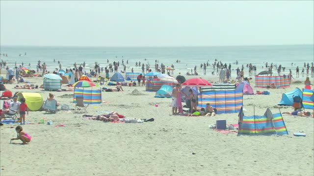 exterior shots of people sunbathing and enjoying the sunshine on west wittering beach on a sunny bank holiday on 28 may 2018 in west wittering,... - イーストサセックス点の映像素材/bロール