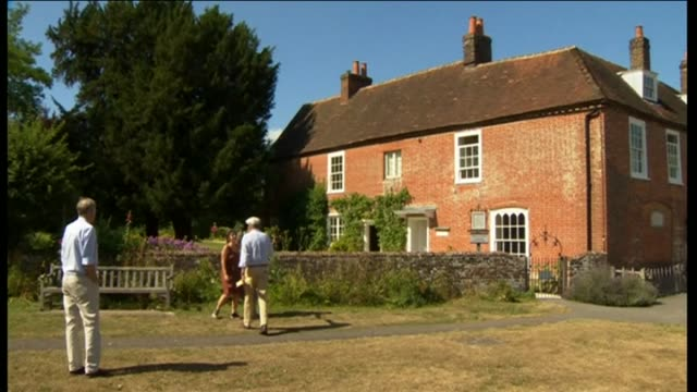 exterior shots of people visiting jane austen's house museum - jane austen author stock videos and b-roll footage