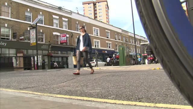 Exterior shots of people walking along pavements in Hackney on September 18 2016 in London England