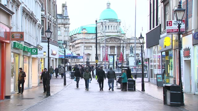 exterior shots of people walking along pedestrianised shopping streets in hull city centre. hull city centre and the humber bridge on november 20,... - hull stock videos & royalty-free footage