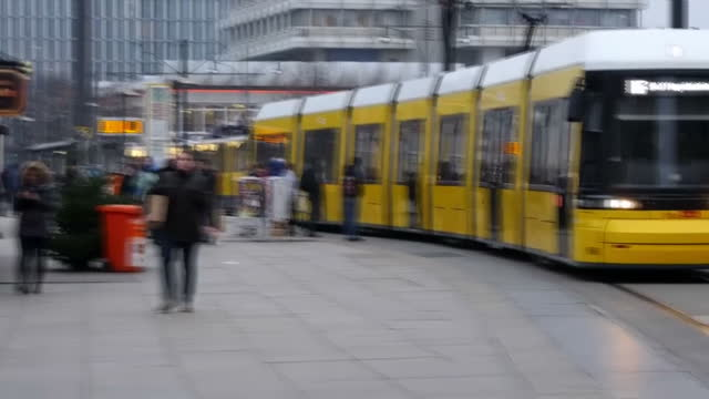 Exterior shots of people walking around and trams going by at Alexanderplatz on December 20 2016 in Berlin Germany A truck deliberately steered into...