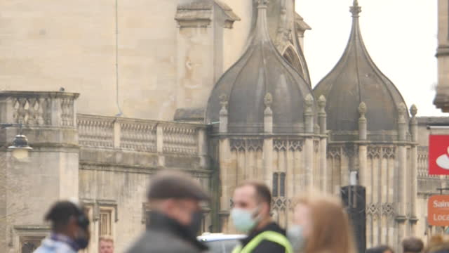 exterior shots of people walking around city centre on 25th february 2021 in oxford, united kingdom. - person in education stock videos & royalty-free footage