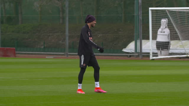 exterior shots of pierre-emerick aubameyang training for arsenal. - sports training stock videos & royalty-free footage