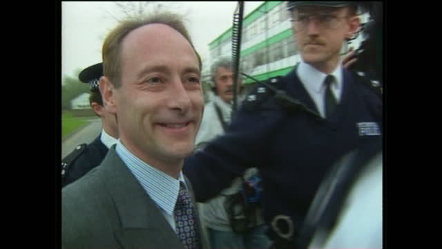 Exterior shots of Piers Merchant arriving for a meeting at his constituent office surrounded by press paparazzi asking whether he's nervouis on April...