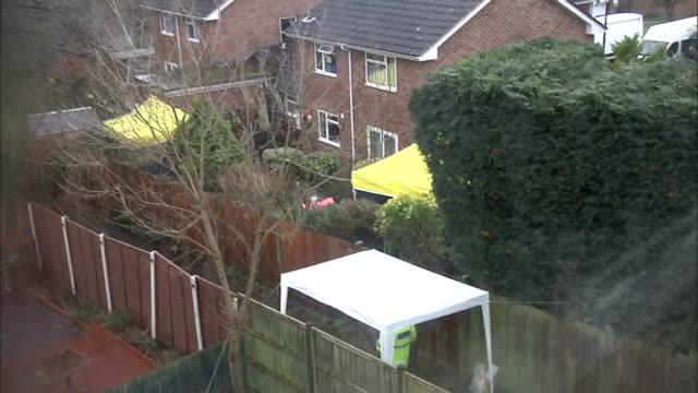 exterior shots of police activity outside the home of sergei skripal, who is in a critical condition in hospital along with his daughter yulia after... - spion stock-videos und b-roll-filmmaterial