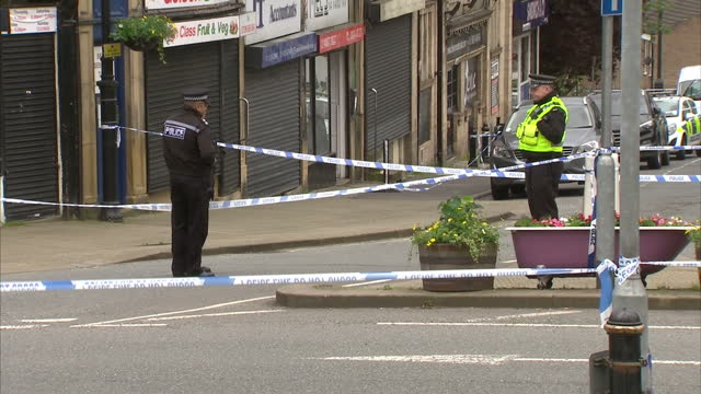 exterior shots of police atscene where jo cox mp was killed yesterday filmed on june 17 2016 in birstall england - jo cox politician stock videos and b-roll footage