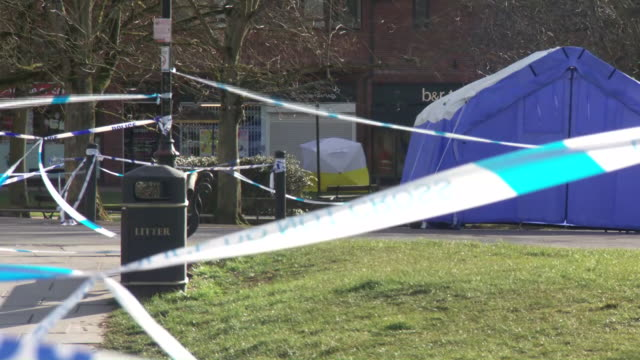 exterior shots of police cordon, tape and forensic tents at the crime scene of a suspected poisoning attack on 9th march 2018 in salisbury, england - toxic substance stock videos & royalty-free footage