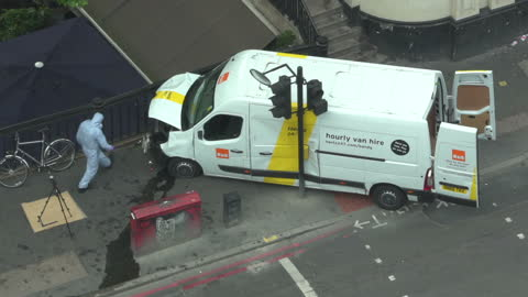 exterior shots of police forensics investigators examining the rented van used in a terrorist attack on london bridge and borough market on june 04,... - terrorism stock videos & royalty-free footage