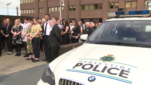 exterior shots of police officers gathered for minute of silence for pc andrew harper on 23 august 2019 in liverpool, united kingdom. - merseyside stock videos & royalty-free footage
