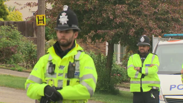 exterior shots of police officers on guard outside sergei skripal's house including shots of police cordon tape and a forensics tent on 16th may 2018... - wiltshire stock videos & royalty-free footage