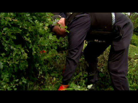 vidéos et rushes de exterior shots of police searching through woodland looking for clues as the hunt for raoul moat continues police search woodland for raoul moat on... - nord est de l'angleterre