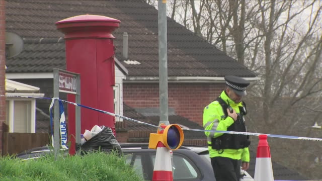 Exterior shots of police stood next to road cordon at the end of Christie Miller Road where poisoned spy Sergei Skripal lived on 15 April 2018 in...