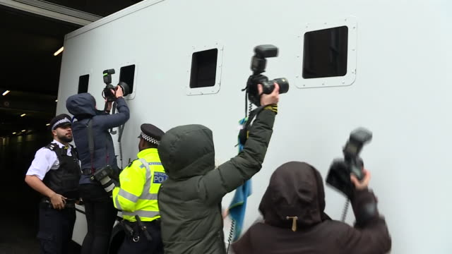 exterior shots of police van departing from westminster magistrates court on the day of julian assanges court hearing on 21 october 2019 in london... - whistleblower human role stock videos & royalty-free footage