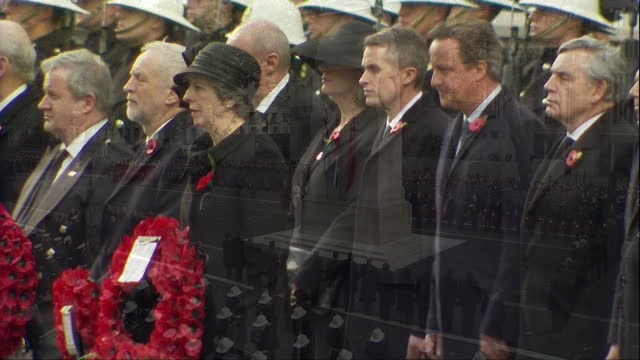 Exterior shots of politicians and officials taking their places by the Cenotaph during Remembrance Sunday commemorations including Prime Minister...