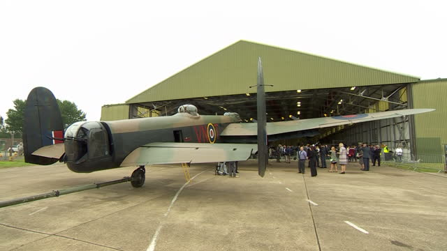 exterior shots of preparations at raf coningsby before a reception and air display to mark the 60th anniversary of the battle of britain memorial... - lancaster bomber stock videos & royalty-free footage