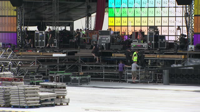 Exterior shots of preparations for the One Love Manchester concert taking place at The Emirates Old Trafford Cricket Stadium on 3rd June 2017...
