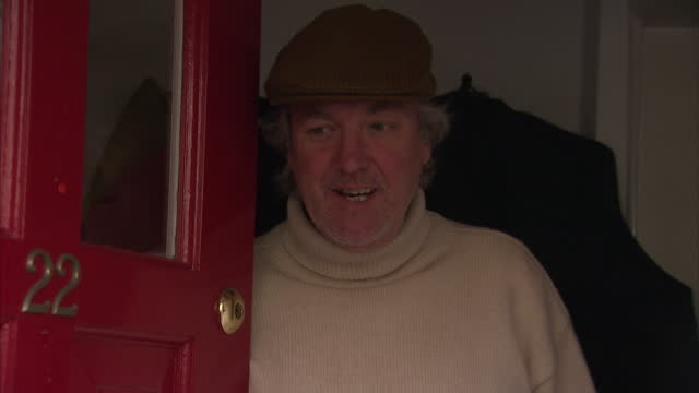 """exterior shots of presenter james may being asked to comment on the suspension of his bbc top gear co-presenter jeremy clarkson, and saying """"the man... - ジェレミー クラークソン点の映像素材/bロール"""