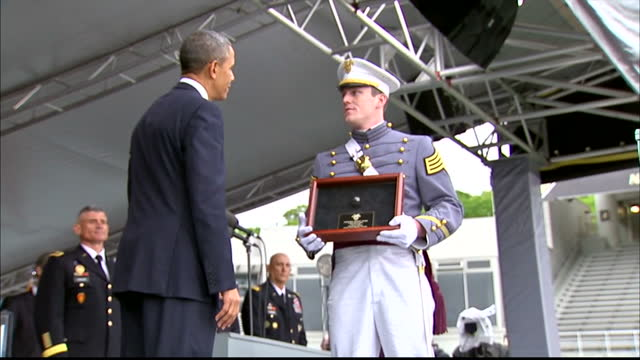 Exterior shots of President Barack Obama speaking to West Point Academy graduates at a graduation ceremony at Michie Stadium on May 28 2014 in West...