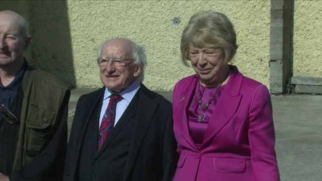 exterior shots of president michael d higgins and his wife sabina departing the polling station after casting their votes for the abortion referendum... - michael d. higgins stock videos and b-roll footage