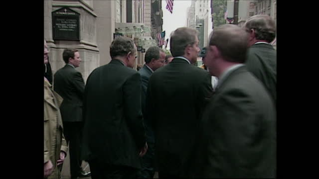 exterior shots of press asking what it means to new york mayor rudolph guliani for british prime minister tony blair to visit the us after 9/11... - september 11 2001 attacks stock videos & royalty-free footage
