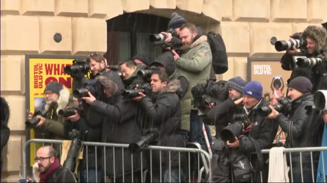 exterior shots of press pack taking pictures of prince harry, duke of sussex and meghan, duchess of sussex on 1st february 2019 in bristol, england. - bristol england stock videos & royalty-free footage