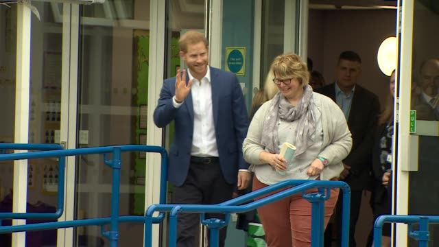 Exterior shots of primary school kids chanting 'Prince Harry' ahead of his arrival The Duke of Sussex visited St Vincent's Catholic Primary School on...