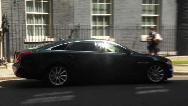 exterior shots of prime minister boris johnson leaving downing street bound for prime minister's questions on 22 july 2020 in london, united kingdom - prime minister's questions stock videos & royalty-free footage