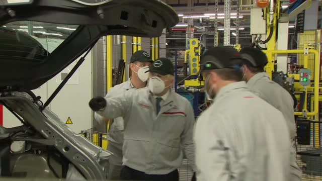 exterior shots of prime minister, boris johnson touring the production line during a visit to nissan's sunderland car plant on the 1st july 2021 in... - car plant stock videos & royalty-free footage