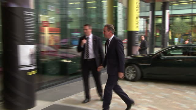 Exterior shots of Prime Minister David Cameron arriving at the BBC North West studios ahead of his appearance on the Andrew Marr Show>> on October 04...