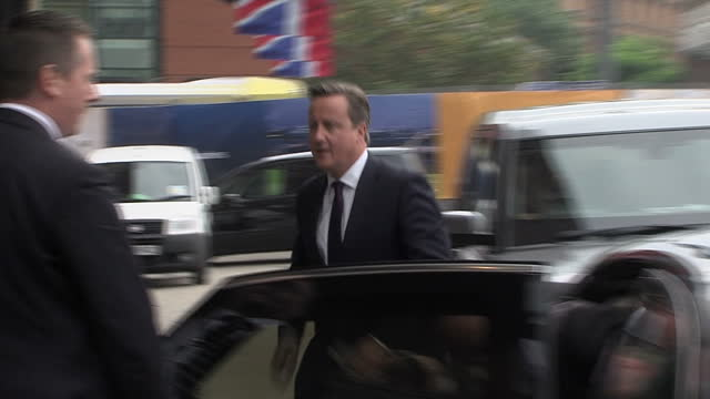 Exterior shots of Prime Minister David Cameron arriving for the Conservative party conference>> on October 04 2015 in Manchester England