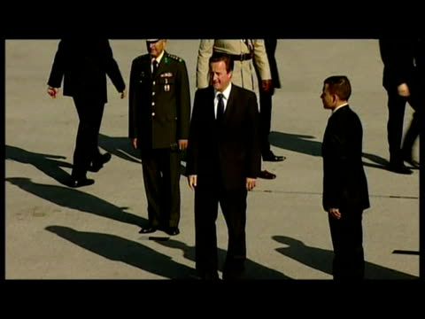 exterior shots of prime minister david cameron arriving in car at wreath laying ceremony at anitkabir mausoleum of the founder of the secular turkish... - mausoleum stock videos and b-roll footage
