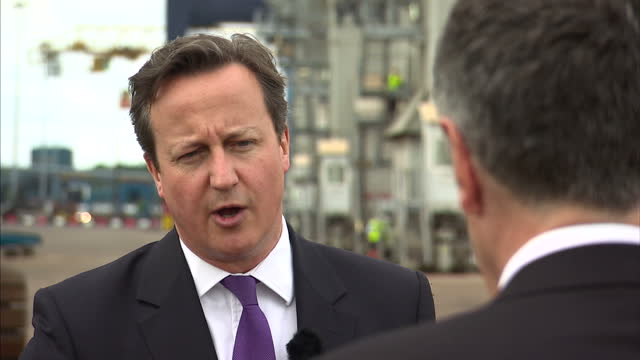 exterior shots of prime minister david cameron being interviewed by sky's dermot murnaghan on european elections, immigration policies & relationship... - 2014 stock-videos und b-roll-filmmaterial