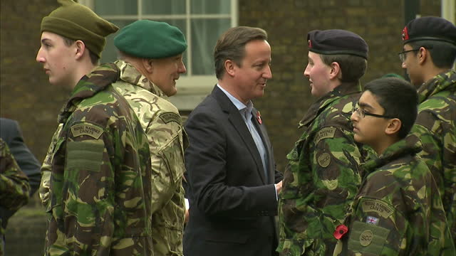 exterior shots of prime minister david cameron speaking to royal marines and royal marines cadets outside number 10 downing street david cameron... - royal marines stock videos & royalty-free footage