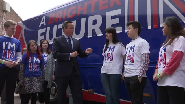 exterior shots of prime minister david cameron speaking to students at exeter university during an event to launch the brighter future in campaign,... - exeter england stock videos & royalty-free footage