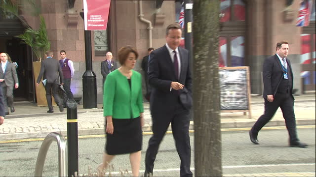 Exterior shots of Prime Minister David Cameron walking with Jane Ellison MP during the Conservative party conference>> on October 06 2015 in...